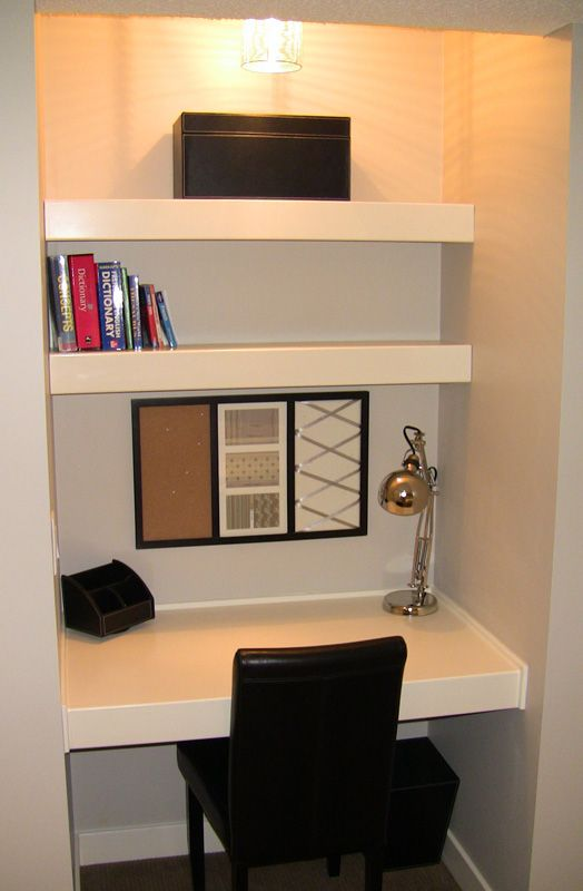 Small built in desk - This would be awesome in the office!