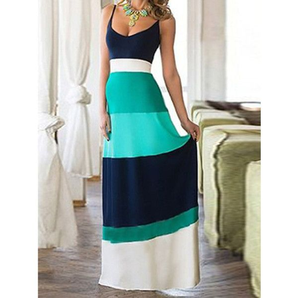 WithChic Teal Blue Contrast Color Spaghetti Strap Maxi Dress ($30) ❤ liked on Polyvore featuring dresses, blue maxi dress, teal blue dress, spaghetti strap maxi dress, maxi dress and teal dress