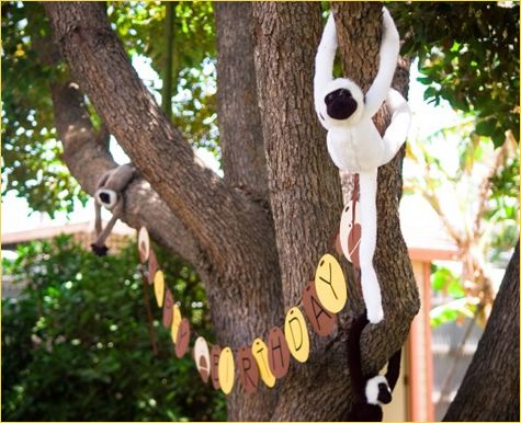Inspired Jungle Party Idea Tie A Garland To Tree