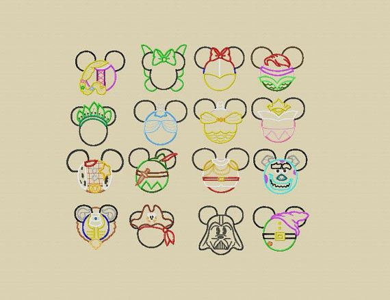 Disney Characters Mickey Mouse Ears Appliquéd Shirts or by LivieQ