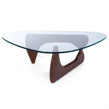 Noguchi Coffee Table Replica - Walnut 20mm thick glass and 40mm thick base