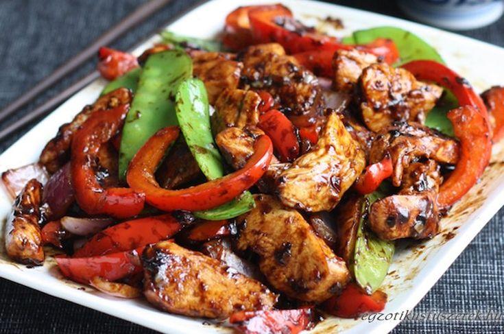 Kínai Stir Fry Csirke Fokhagymás Szószban