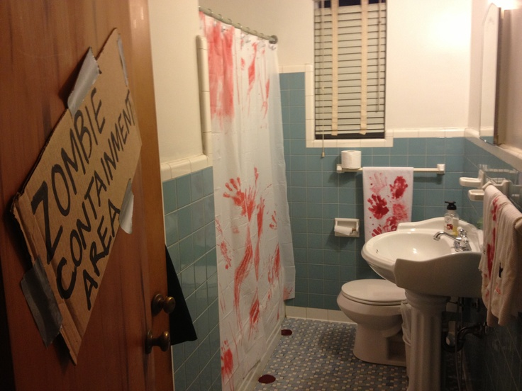 Zombie Bathroom Blood On Old Towels Made From  Oz Corn Syrup  Tbsp
