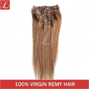 Straight Remy Human Hair Brown Color#8 20 Clips 8pcs/set Clip In Hair Extensions http://www.latesthair.com/