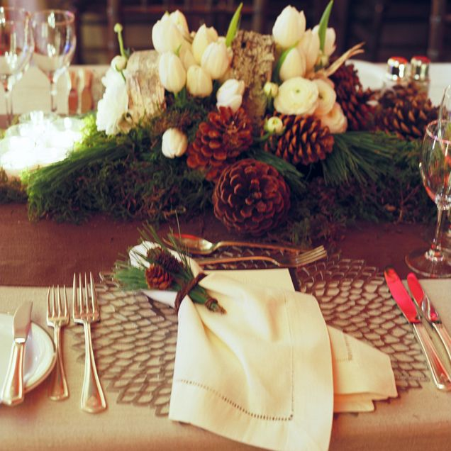 24 best christmas theme vow renewal images on pinterest christmas centerpieces make of found pine cones pine boughs and white flowers are perfect for junglespirit Choice Image
