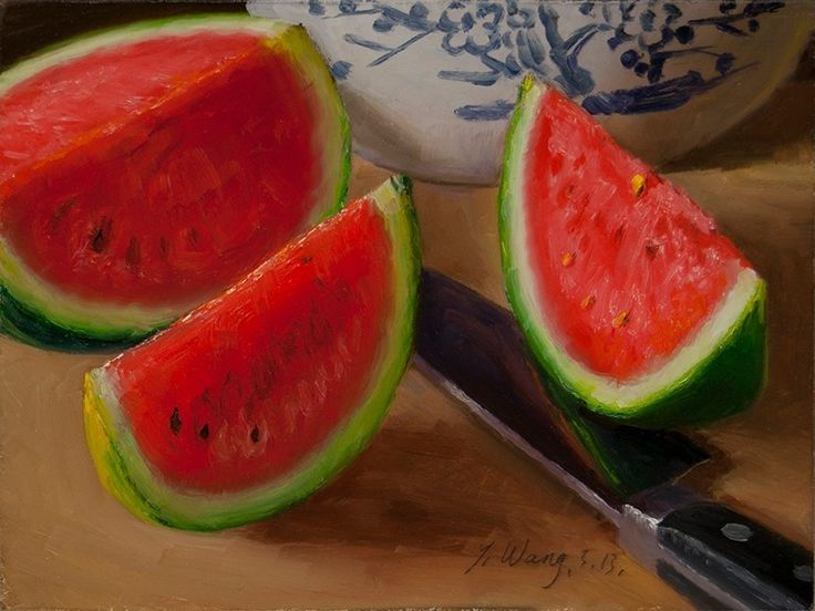 Watermelon Original Oil Painting Still Life Daily Painting Fruit 6x8 Y Wang   eBay