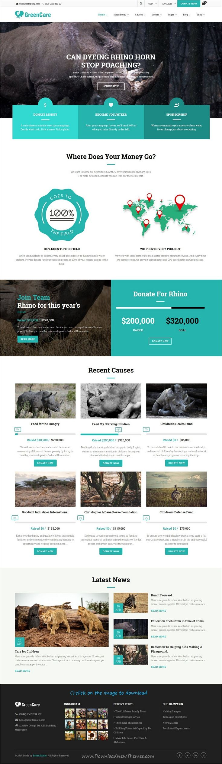 GreenCare is clean and modern design all-in-one responsive #WordPress theme for #Charity #stoppoaching and nonprofit organizations website with 6 niche homepage layouts to download click on image.