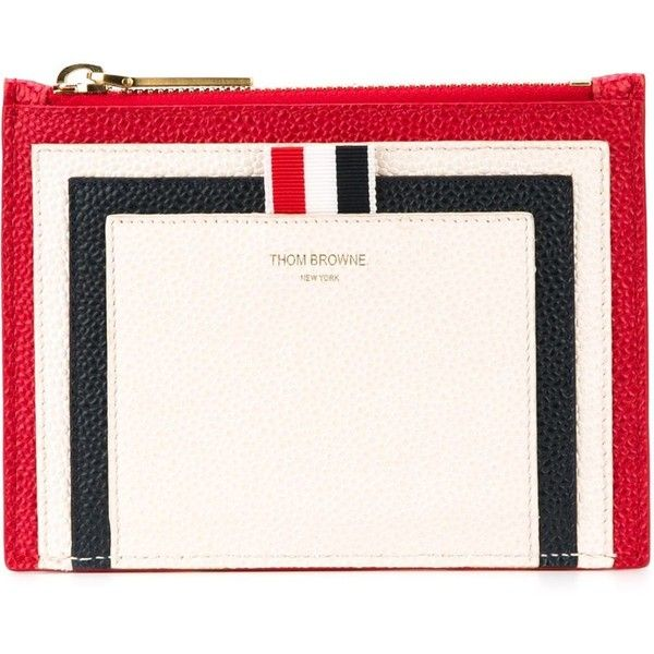 Thom Browne Panelled Coin Purse ($472) ❤ liked on Polyvore featuring bags, wallets, white, white wallet, leather wallet, leather coin purse, genuine leather wallet and change purse