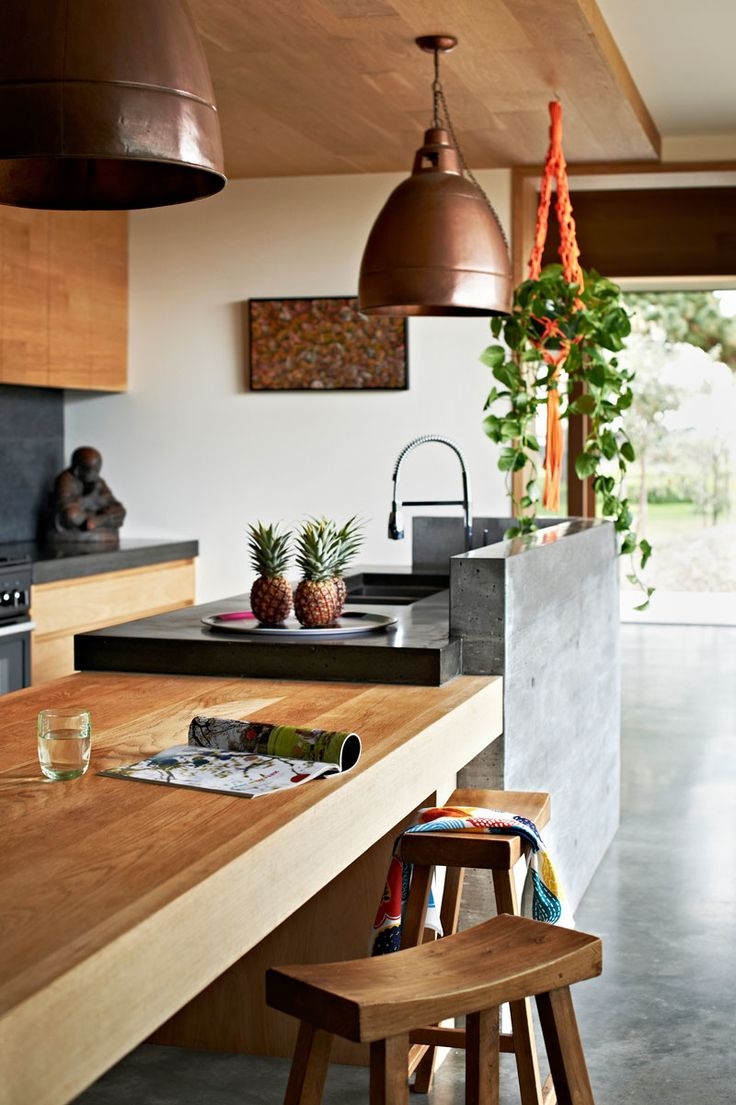 Different island bench materials and upstand wall. Timber ceiling. Emma O'Meara Portfolio - Gallery