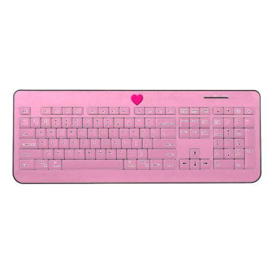 Pink Heart - Pink Wireless Keyboard by www.zazzle.com/htgraphicdesigner* #zazzle #gift #giftidea #love #heart #pink #wireless #keyboard #computer #laptop