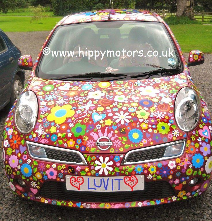 Love these daisy flower power Nissan car stickers decals by hippymotors  https://www.hippymotors.co.uk/