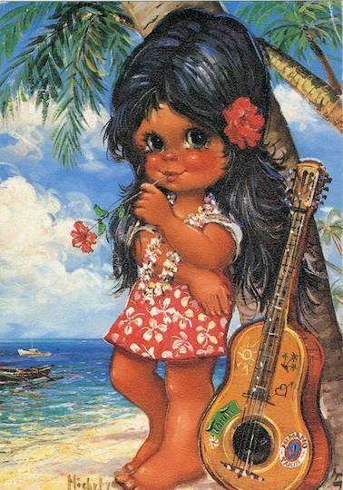 Vintage Big Eyed Hawaiian Hula Girl Postcard by Michel Thomas.