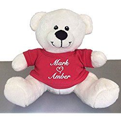 Personalized You and Me Snuggle Teddy Bear - White, 10 inch (Red TShirt)