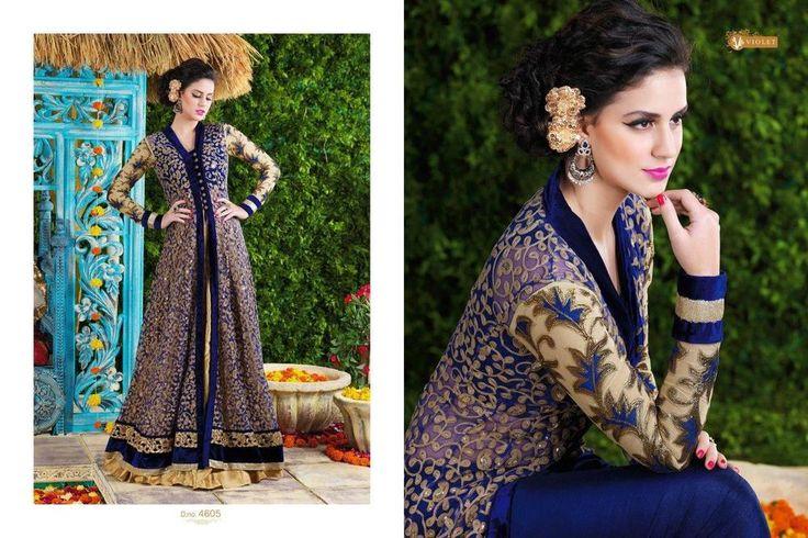 Navy Gown Wedding Party Indian Bollywood Designer Ethnic Salwar Kameez 1785…