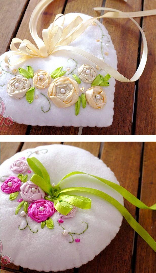 Love the pretty ribbonwork roses - idea for cushion, pillow or pincushion. :)