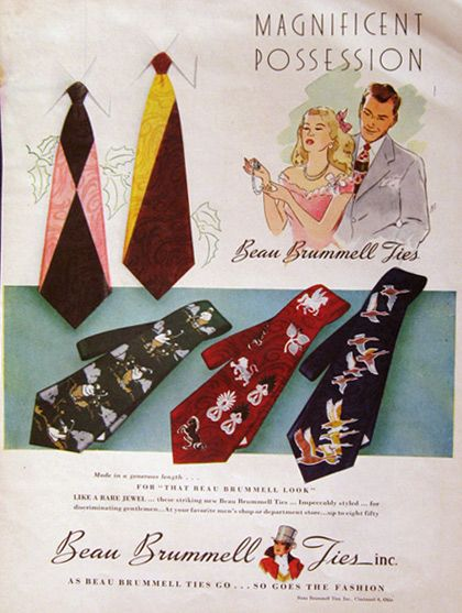 Vintage Beau Brummell Ties Ad - 1948