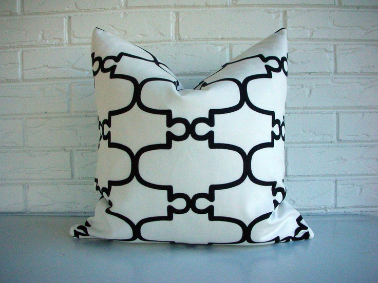 Modern Glam Pillows : Decorative Designer Throw Pillow Cover - Hollywood Regency - Modern Glam - Black White Lattice ...