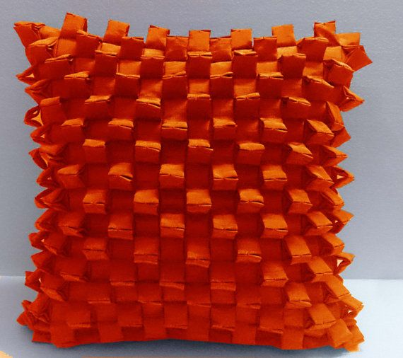 triangular pleated pyramid shaped three -D orange cushion decorative cushion modern bed pillow sewing pattern bedroom decor silk cushion
