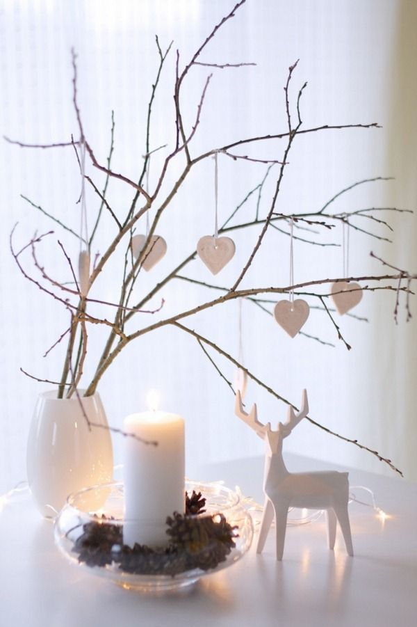 Weihnachtsdeko branches scandinaves vase décorations en pâte à sel