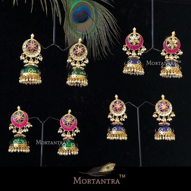 Some much vibrance in a single picture.. To kick off your monday blues we get to your feed these beautiful jhumkas in so many pretty colors.  Book them before they become someone elses