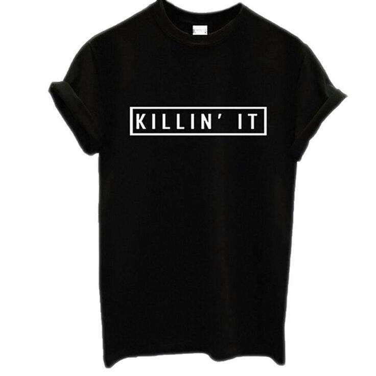 Plus size Women Black White Killin It American T-shirt Woman Tee Short Sleeve Fashion Tops Street Hippie Punk Womens Tshirt