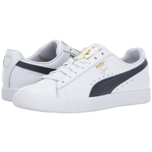PUMA Clyde Core L Foil (Puma White/Puma New Navy/Puma Team Gold)... ($75) ❤ liked on Polyvore featuring shoes, laced up shoes, white shoes, puma footwear, navy shoes and puma shoes