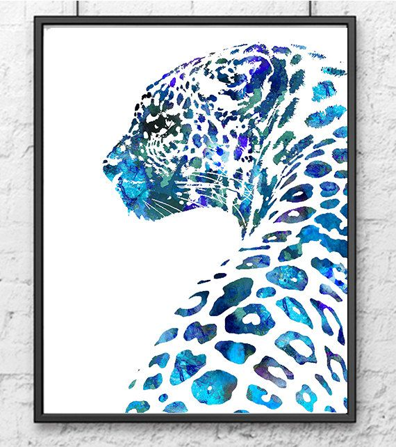 Animal Watercolor Art Print Leopard, African Animal Painting, Blue Home Decor