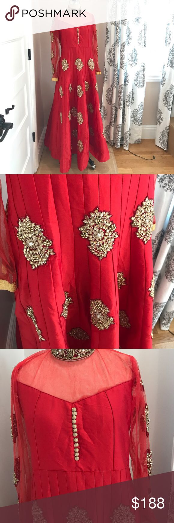 PRICE FIRM Indian/ Pakistani Anarkali Shalwar Suit Bought this piece for my sister from India & she gave me the wrong size; so her loss is your gain! Price is firm to cover the price I paid. You won't find a better deal for this quality anywhere around the U.S (go ahead & try). This beautiful Anarkali Sari Dress Suit has never been worn and perfect for all Indian/ Pakistani functions. Comes with top quality stone work and appliqués all around the bodice, sleeves, sides and neck to create a…