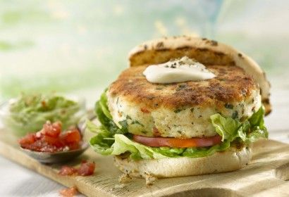 Fish Burger with Tomato Salsa and Chunky Guacamole