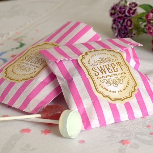 Old fashioned looking sweetie bag labels