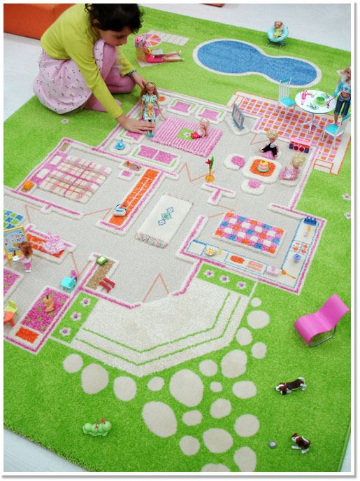 sweet dollhouse rug... I would have LOVED this when I was a kid!! @Yvonne Leal, we wouldn't have had to use sidewalk chalk on the garage floor to draw a house! LOL