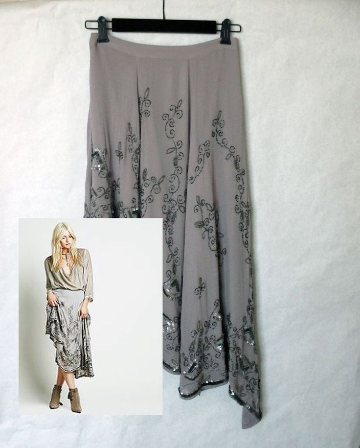 Free People Boutique Dance With Me Maxi Skirt sz 0 NEW Ash Gray Embellished RARE #FreePeople #Maxi