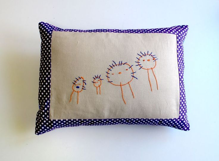 take your kid's art work and turn it into embroidery!! Such a great idea!