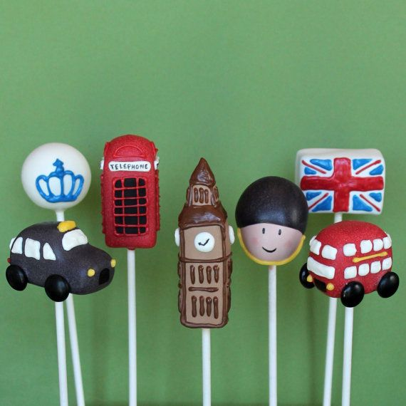 12 Cake Pops for London, England, British party, favors, wedding - Big Ben, royal crown & guard, phone booth, taxi, double decker bus, flag