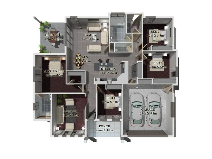 72 best 3D House Plan images on Pinterest Floor plans, Brisbane - 3d house plans