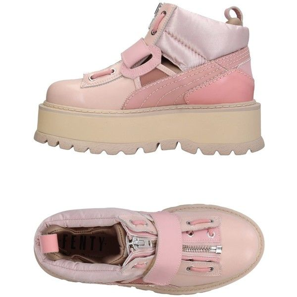 Fenty Puma By Rihanna High-tops & Sneakers (3.880.140 IDR) ❤ liked on Polyvore featuring shoes, sneakers, pink, puma high tops, puma sneakers, puma shoes, zipper sneakers and high top wedge sneakers
