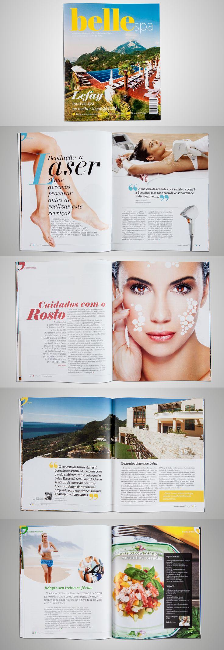 """Revista Belle Spa - Projeto editorial para o público """"mulheres de 30 a 40 anos preocupadas com a beleza"""" - revista que apresenta os melhoras Spas do mundo a cada edição. Todal de 36 páginas. #editorial #design"""