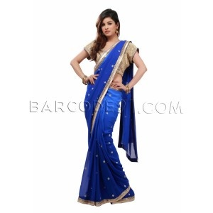 Shaded royal blue saree with embroidery by B91 Exclusive
