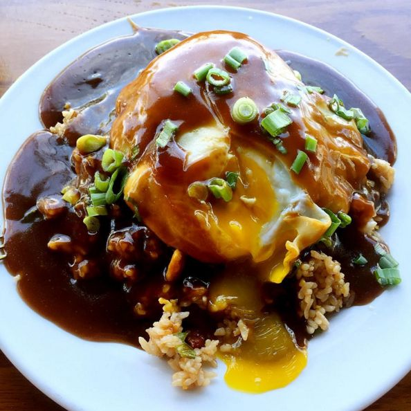 Loco Moco: A mound of rice + beef patty + overeasy egg + brown gravy = Incredibly messy and tasty heaven. Hawaiian food!