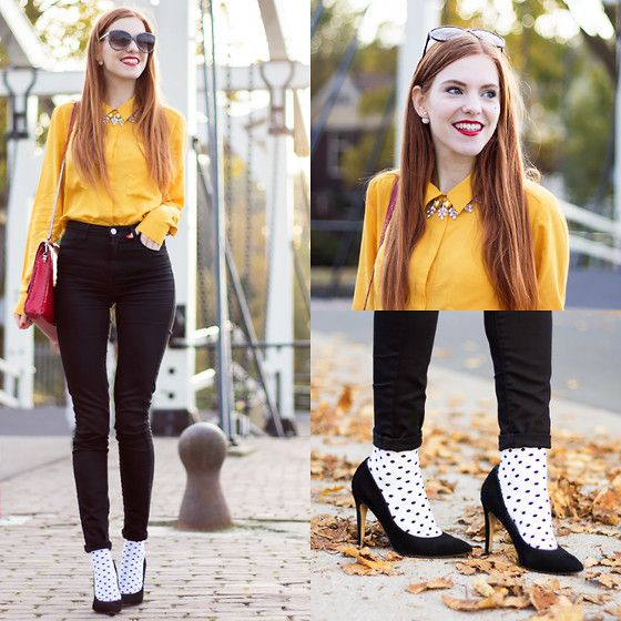 More looks by Sonja Vogel: http://lb.nu/retrosonja  #preppy #retro #street #polkadots #colorful #socks #pumps #heels #highwaisted