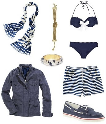 Fun, nautical themed wear perfect for a cruise or for a sunny Saturday at home (when you wish you were cruising).