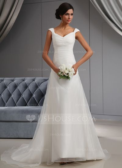 Wedding Dresses - $172.99 - A-Line/Princess Off-the-Shoulder Chapel Train Organza Wedding Dress With Ruffle (002022664) http://jjshouse.com/A-Line-Princess-Off-The-Shoulder-Chapel-Train-Organza-Wedding-Dress-With-Ruffle-002022664-g22664
