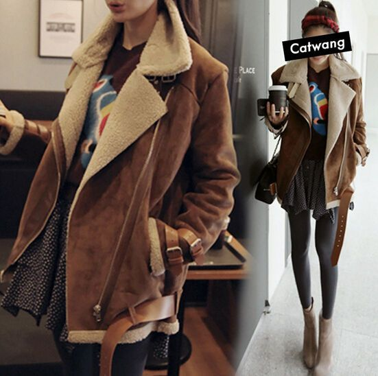 Women's Faux Suede Leather Fur Lined Thicken Winter Warm Jacket Coat Outwear http://feedproxy.google.com/fashionshoes2