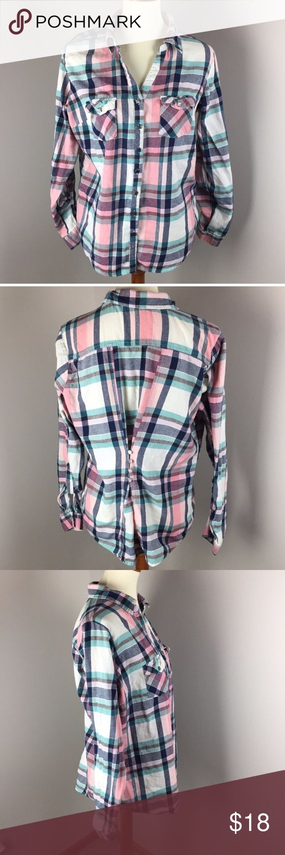 Shirt plaid Women's pink plaid button up flannel shirt.  Smoke free animal free home environment.  This adorable shirt looks great with jeans and is so girly looking. You'll feel so good when people say how cute you look and the buttons gather up the back to give it a snug look. Says XL but fits more like a large. Maurices Tops Button Down Shirts