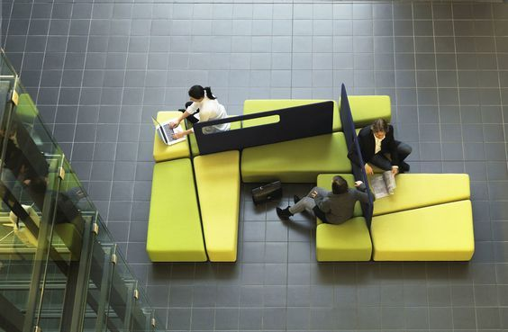 Diagonal is an innovative combination of sofa and space divider for public indoor spaces. It was designed to meet the needs of modern offices and waiting areas demanding flexibility and privacy.:
