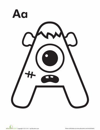 Alphabet Monster Coloring Pages | Education.com