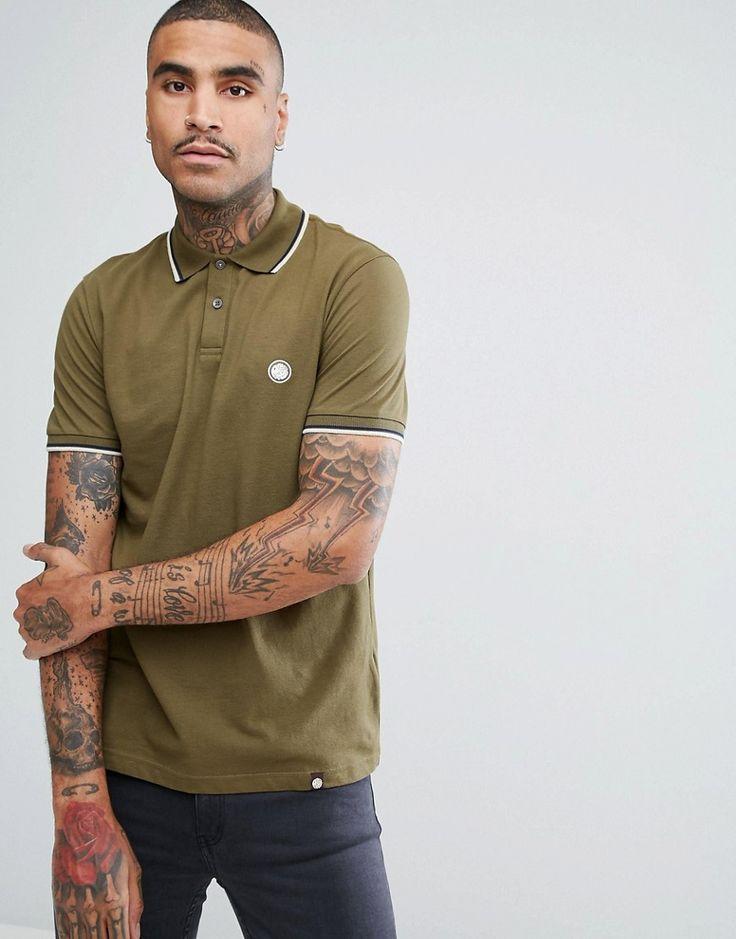 Pretty Green Barton Short Sleeve Tipped Polo Shirt In Green - Green