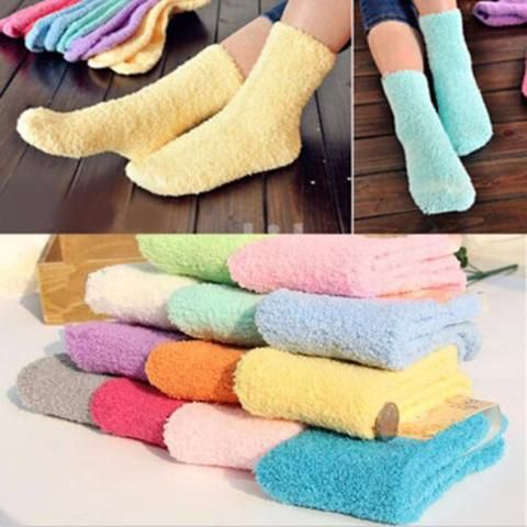 1 Pairs Toddler Baby Boy Girl Childs Cotton Solid Fluffy Long Winter Socks  Warm