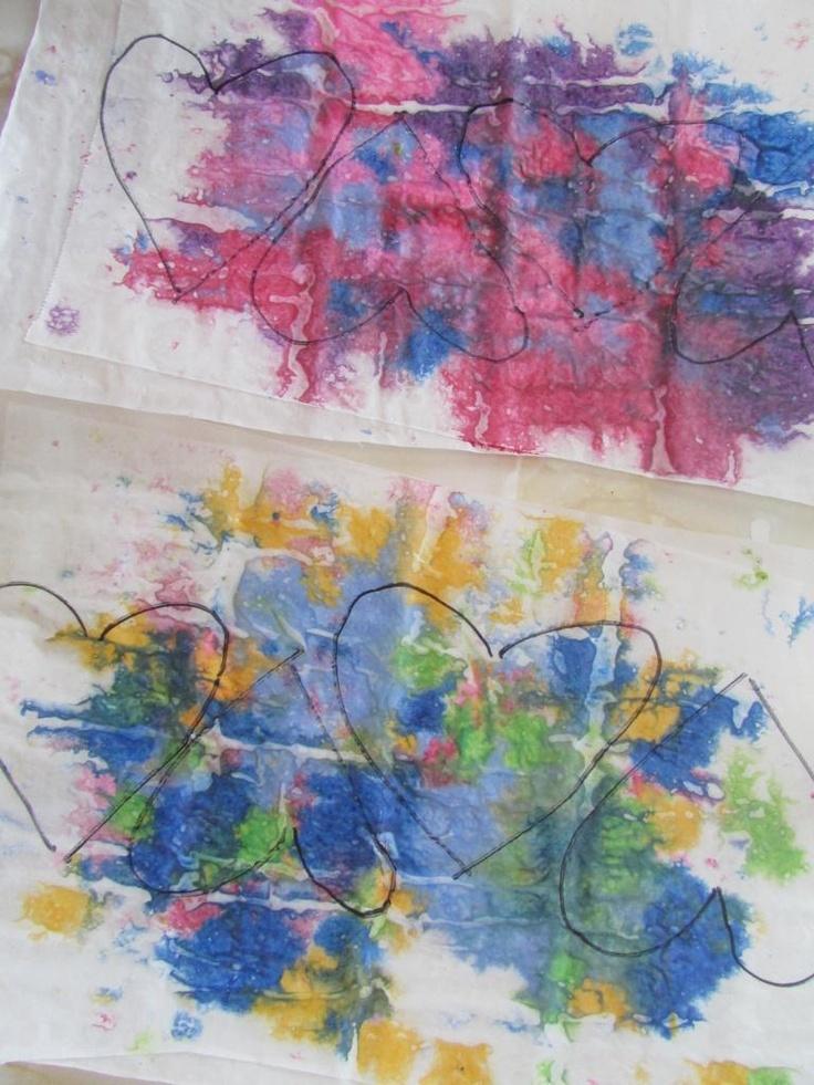 Melted Crayon Hearts Garland