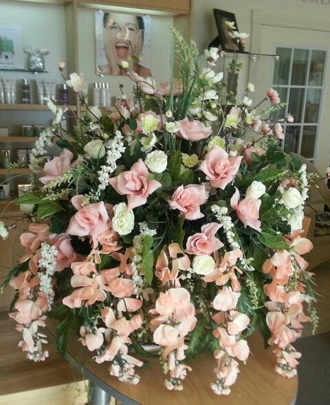 Large Memorial Saddle in Peaches & Cream for my Mom, sympathy, monument, flowers, grave